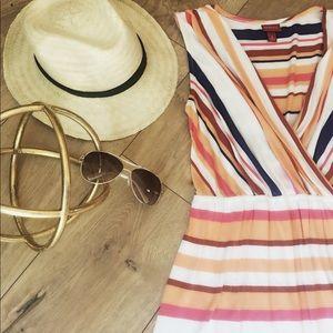 Merona striped dress Small blue orange
